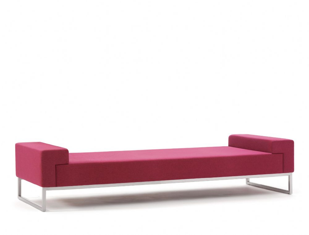 Pledge Hub Upholstered Three Seat Bench With Steel Underframe
